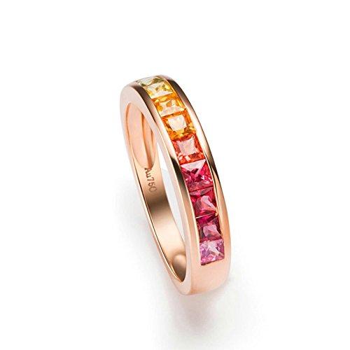 AnazoZ 18K(Au750) Rose Gold 1CT Gemstone Princess Cut Engagement Rings Real Size 5.5