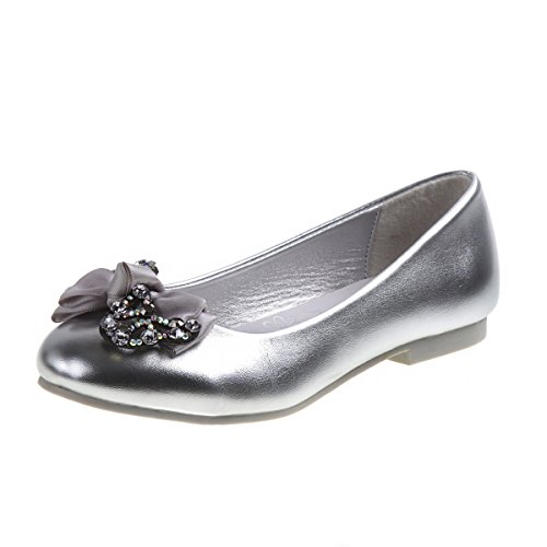 'Nanette Lepore Girls\' Ballet Flats with Rhinestone Bow Over Toe, Silver, Size 1'