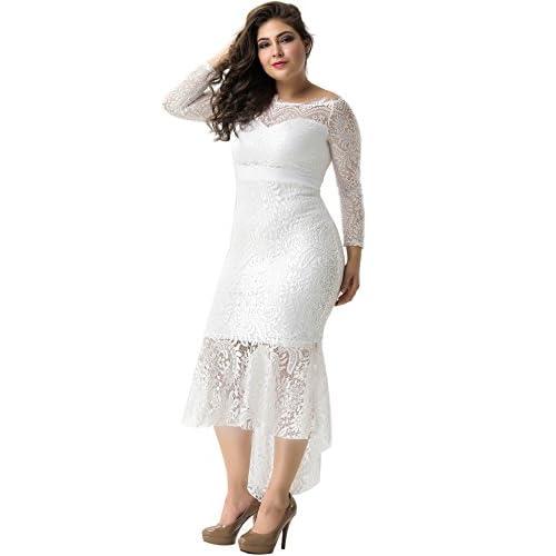 79daf9ddecd ohyeah Women Solid Formal Lace Maxi Dress Long Sleeve Off Shoulder Elegant  Party Gown Mermaid Dress
