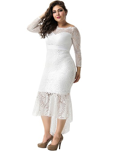 Maxi White ohyeah Women Dress Sleeve Party Off Elegant Formal Long Mermaid Lace Gown Shoulder Solid Dress wwHIZfxqR