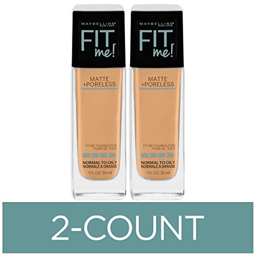 Maybelline New York Fit Me Matte + Poreless Liquid Foundation Makeup, Natural Buff, 2 COUNT Oil-Free Foundation