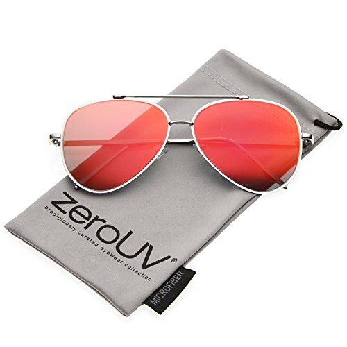 zeroUV - Mod Fashion Teardrop Rimless Mirror Flat Lens Metal Frame Aviator Sunglasses 58mm (Silver / Red - Aviators Red Mirrored