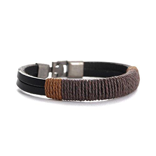 CH Vintage Bracelet PU Leather Bracelet Braided Bracelet For Men Women (Color1)