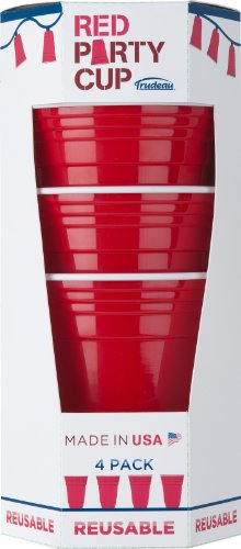 Trudeau 16-OunceDouble Wall Reusable Red Party Cup, Set of 4