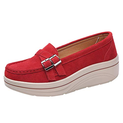 RAINED-Women Platform Loafers Ladies Low Top Wedges Moccasins Slip On Suede Leather Toning Rocker Shoes Walking Shoes Red