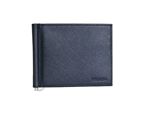 94e5a84bb730 Prada Mens Bifold Wallet with Money Clip Saffiano Baltico Blue Leather  2MN077: Amazon.co.uk: Shoes & Bags