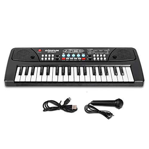 M SANMERSEN Kids Keyboard Piano 37 Keys Piano for Kids Electronic Piano Keyboard with Microphone Learning Music Keyboard…