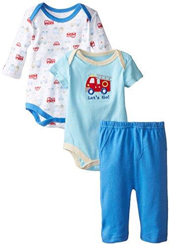 BON BEBE Baby-Boys Newborn Let's Go Double Bodysuit Set with Pants, Multi, 0-3 Months