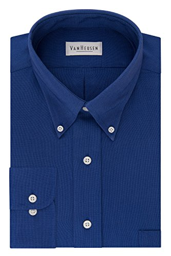 Van Heusen Men's Regular Fit Oxford Button Down Collar Dress Shirt, English Blue, ()