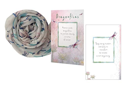 (Smiling Wisdom - Dragonfly Scarf Gift Set - Sympathy Grief - Heaven Sends Dragonflies, New Beginnings Greeting Card - Her, Woman, Teen - Blue Pink Off-White - New)