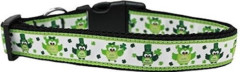 Dog Collars Dotted Ribbon (Mirage Pet Products 125-256 LG St. Patty's Day Party Owls Nylon Dog Collar, Large)