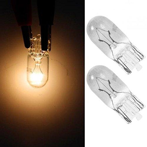 (Partsam 2pcs Car Lamp T10 19412V 5W wedge bulb halogen White Glass Automotive Lamp Front )