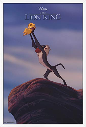 "Trends International Disney The Lion King 1994-Pride Rock Wall Poster, 22.375"" x 34"", White Framed Version"