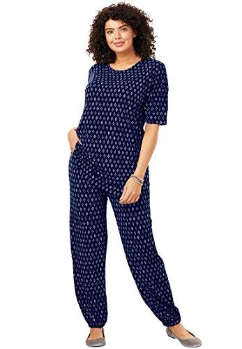 Woman Within Plus Size Two-Piece Jog Pants Set