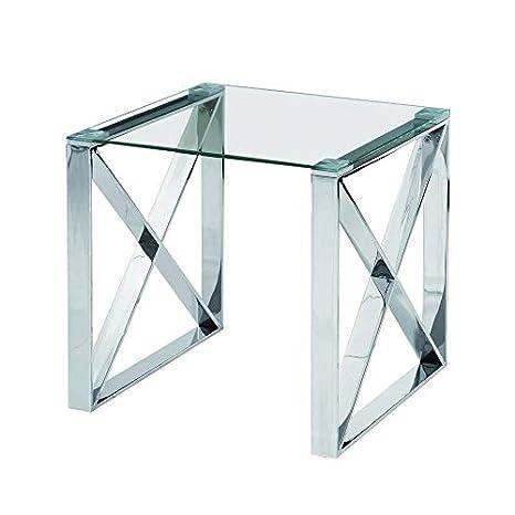 Amazon.com: Overstock Muebles de acero inoxidable cristal ...