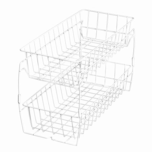 PRO-MART DAZZ 2 Tier Stackable Pull Out Baskets, White