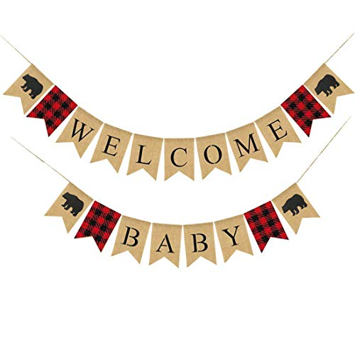 Lumberjack Baby Shower Banner, Buffalo Plaid Bear Welcome Baby Banner,Timber Rustic Hunter Theme Welcome Baby, Camping Bear Baby Shower Decorations Supplies, Lumberjack Gender Reveal Banner -
