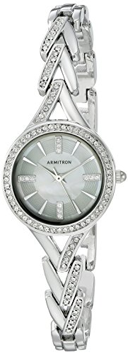 Armitron Women's 75/5391MPSV Swarovski Crystal Accented Silver-Tone Bracelet Watch