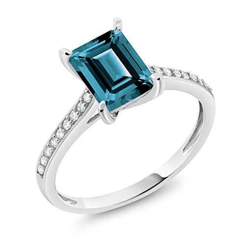 10K White Gold 2.08 Ct Emerald Cut London Blue Topaz and Diamond Engagement Ring (Available in size 5, 6, 7, 8, 9)
