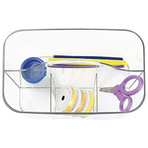 mDesign School Supplies Desk Organizer Tote for Scissors, Pens, Pencils, Notepads, Markers, Highlighters, Tape - Small, Clear by mDesign (Image #3)