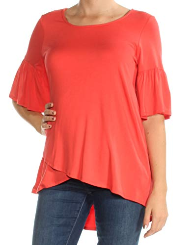 Karen Kane Womens New 1545 Coral Jewel Neck Short Sleeve Casual Top M B+B