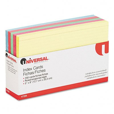 Universal Index Cards, 3 x 5, Blue/Salmon/Green/Cherry/Canar