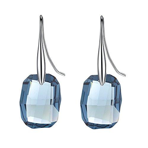 Superbe Midnight Blue Boucles d'oreilles avec Cristal Swarovski Elements
