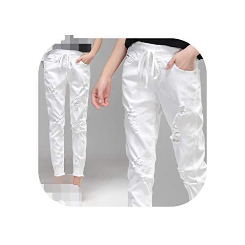 (White Hole Ripped Jeans Women Elastic Waist Lace Up Harem Pants Denim Black Stretch Jeans C4325,White,32)