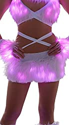 Pink Faux Fur Light-Up Skirt with Lights
