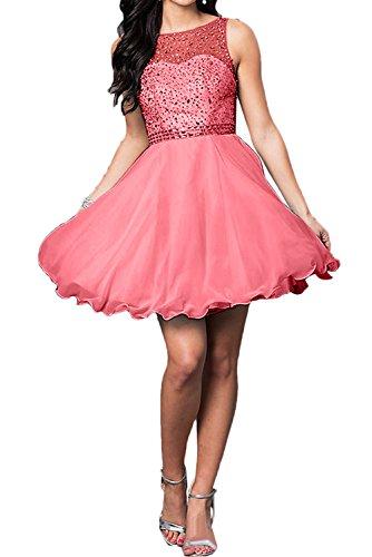 Zaertlich Ballkleider Kurz Damen Brautjungfernkleid Partykleid Steine Abendkleider Wassermelone Ivydressing qUf0wE5E