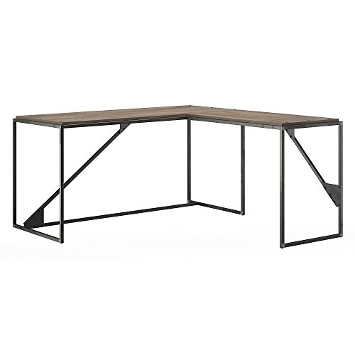 - Bush Furniture Refinery 62W L Shaped Industrial Desk with 37W Return in Rustic Gray