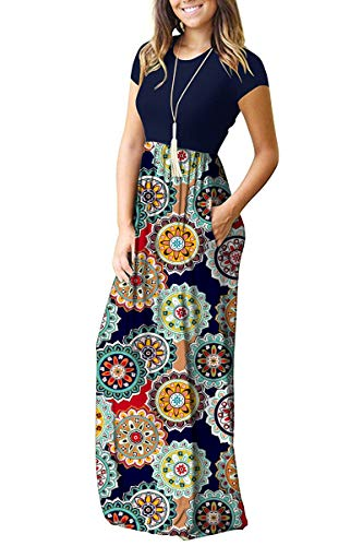 AUSELILY Women Short Sleeve Loose Plain Casual Long Maxi Dresses with Pockets (XL, Navy Floral Red)