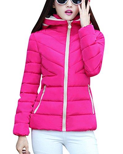 Invierno Mujer Acolchado De Abrigo Moda Cremallera Capucha Rose Con De Largo Chaqueta Para Rojo 4PgnqZ4xr