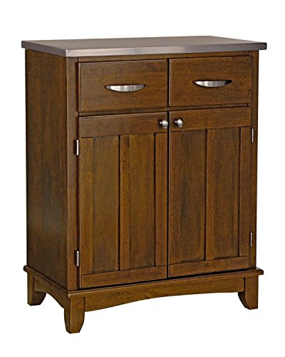 Cheap Cottage Oak Server With Stainless Steel Top