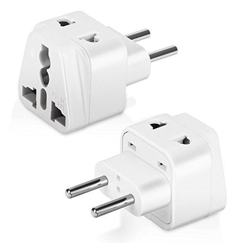 Boxeroo Europe Travel Adapter Plug - Type C (2 Pack) Europlugs- Dual Inputs - Ultra Compact (Does Not Convert (Schuko Type)