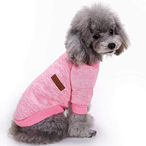 Bwealth Dog Clothes Soft Pet Apparel Thickening Fleece Shirt Warm Winter Knitwear Sweater for Small and Medium Pet (M, Pink)