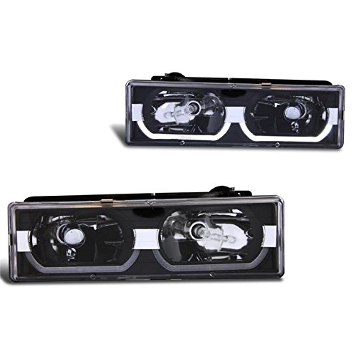 - SPPC Black Crystal Headlights Assembly Set Low Halo For Chevy Fullsize - Passenger Right and Driver Left Side Replacement Headlamp