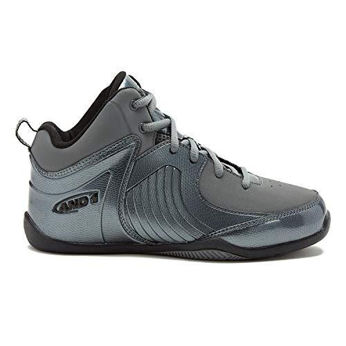 AND1 Kids Shoe Tsunami Basketball Sneakers 4 Big Kid Grey/Silver/Black