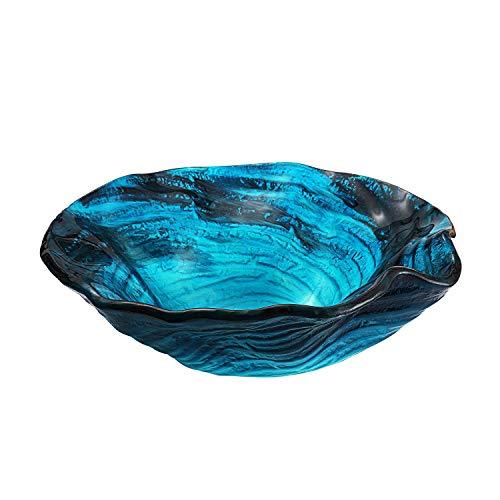 Molshine GVS-11-12mm Handmade Artistic Glass Vessel Bathroom Sink -Above Counter Bathroom Lavatory Vanity Basin Bowl, Free Glass Basin Mounting Ring