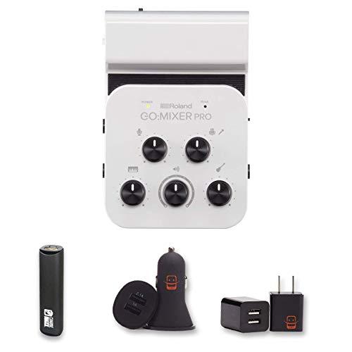 Roland GO:MIXER PRO Audio Mixer for Smartphones (GOMIXERPRO) + PowerBank + USB Car Charger + USB Wall Charger, EZEE Bundle from E Zee Electronics