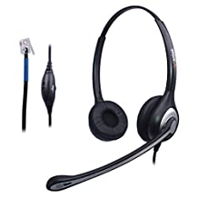 Wantek Corded Telephone RJ Headset Binaural with Noise Canceling Microphone for Call Center Telephone Systems with Plantronics M10 M12 M22 MX10 Amplifiers or Cisco 7942 7971 Office IP Phones(F602C1)