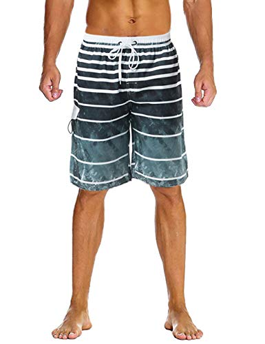 66e5676e33 Lncropo Swimming Trunks for Men Quick Dry Striped Men's Boys Swim Trunks  Beach Board Shorts with Mesh Lining(B1-Gray,L)