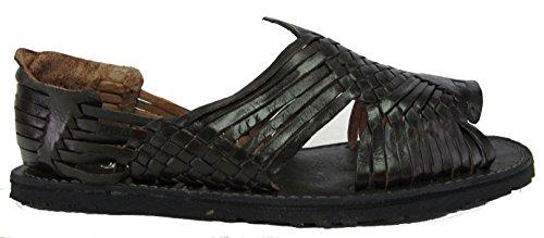 Mens Nytt Läder Mjuk Vävda Handgjorda Sandaler Flip Flop Slip Huaraches Svart