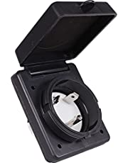 Journeyman-Pro RV TT-30 Flanged Inlet 30A 125 Volt, Straight Blade Generator Plug Locking Shore & Marine Power Receptacle Electrical Outlet/Socket, Black or White 30 Amp