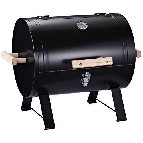 Outsunny 20″ Mini Small Smoker Charcoal Grill Side Fire Box, Portable Outdoor Camping Barbecue Grill with Wooden Handles