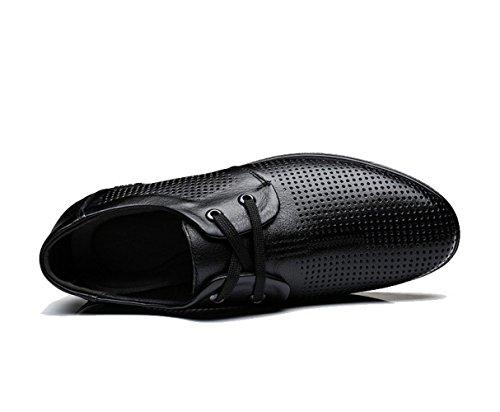 LEDLFIE Chaussures en Cuir Véritable pour Hommes Chaussures Décontractées Découpes Ronds Respirant Chaussures pour Hommes Black 3zsIOzJ