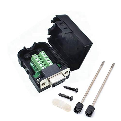 Connector DB9 RS232 D-SUB Female Adapter Serial 9 Pin Port DB9 COB Breakout Terminal Connector Signal Module with Case (Female with Screw)