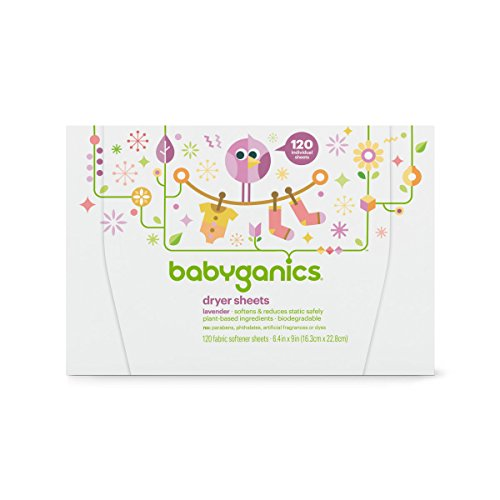 Babyganics Dryer Sheets, 120 count, Packaging May Vary (Best Baby Detergent And Fabric Softener)