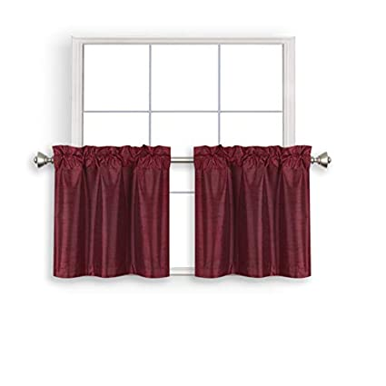 Home Queen Faux Silk Rod Pocket Tier Curtains for Small Window, Short Room  Darkening Kitchen Curtains, Café Drapes, 2 Panels, 30 WX 24 L Inch Each, ...