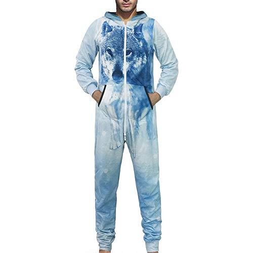 Serzul_47 Men's Family 3D Wolf Printed Zip Up Jumpsuit Adult Sleepwear Nightwear Romper Sweaters ()
